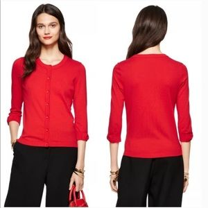 Kate Spade Red 3/4 Somerset Bow Cuff Cardigan